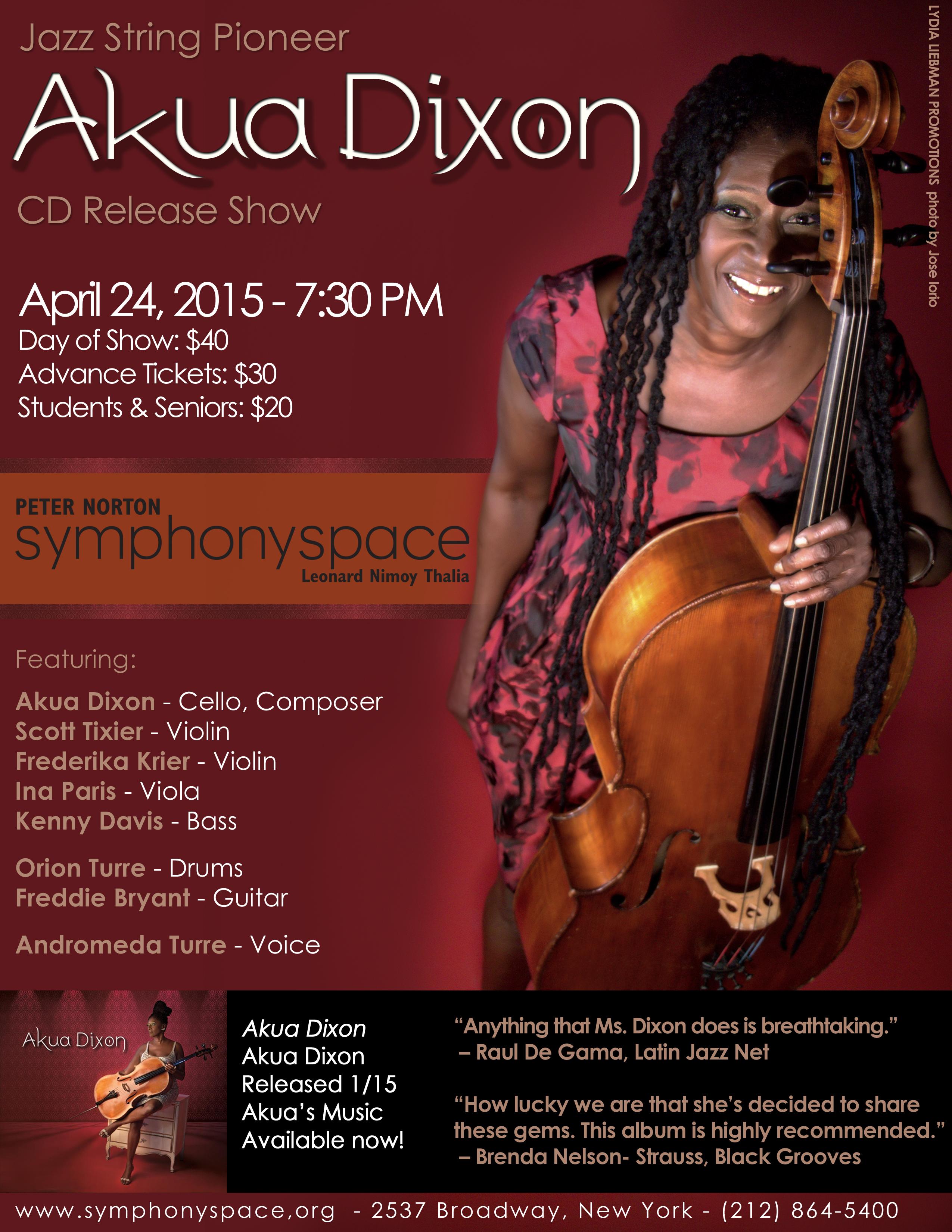 Akua Dixon, Symphony Space, NYC, 4/24/15