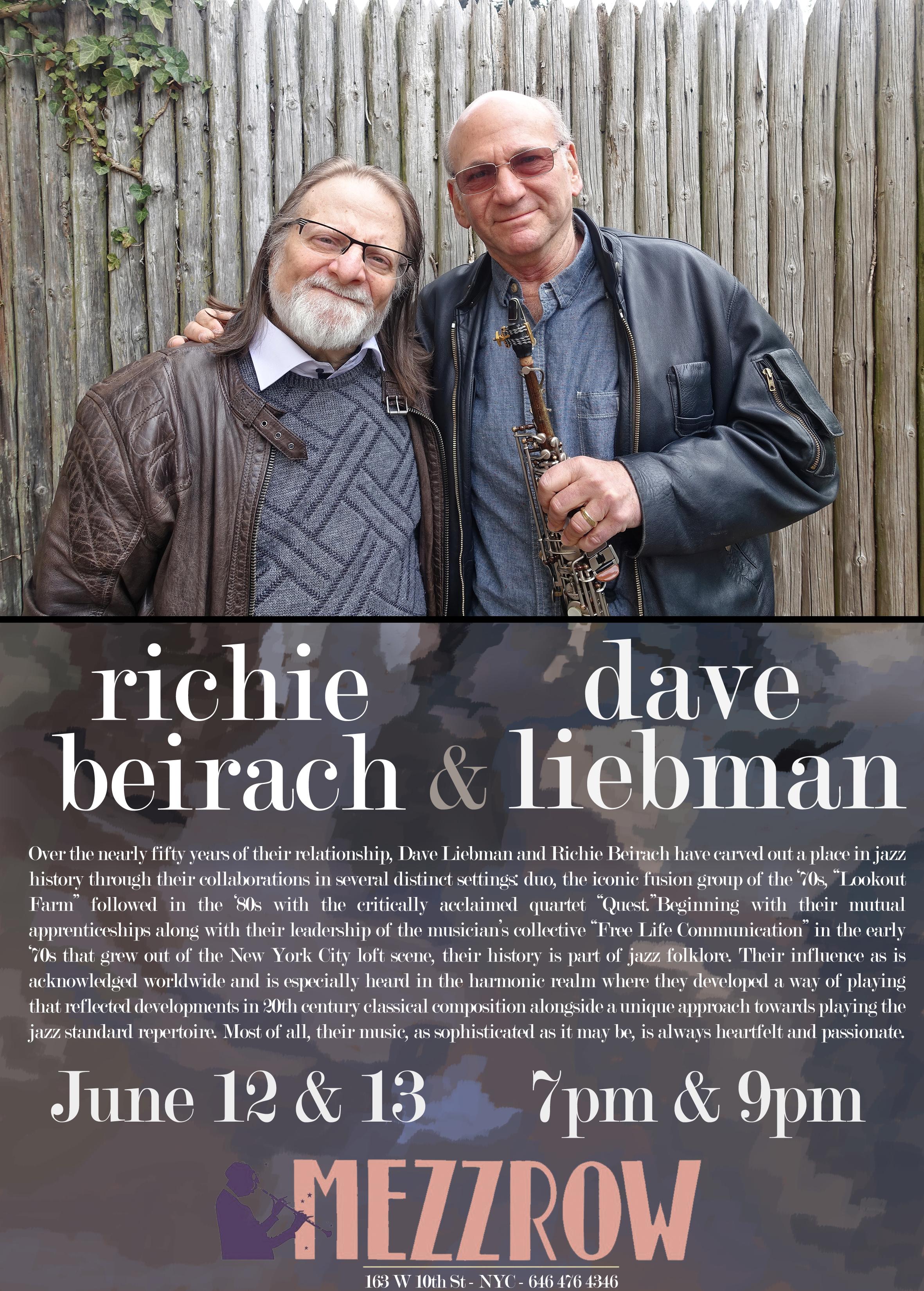 Dave Liebman & Richie Beirach, Mezzrow, NYC, 6/12/15-6/13/15