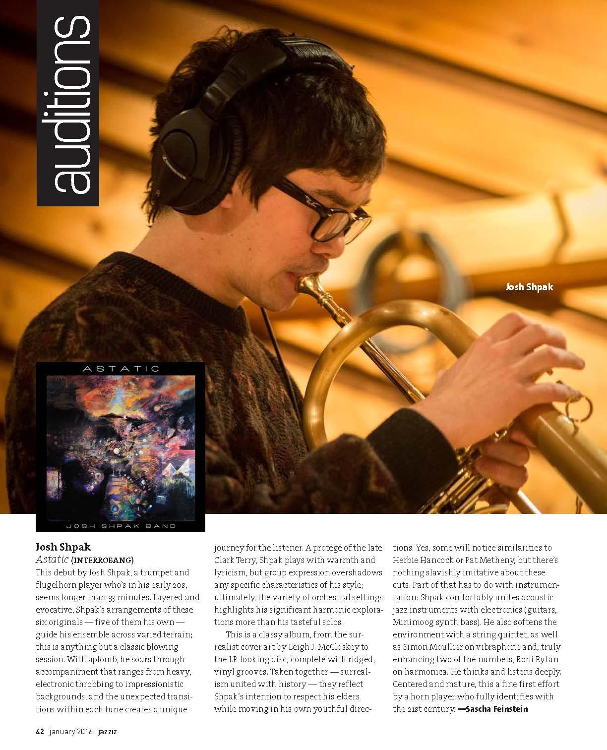 Beautiful spread in Jazziz for Josh Shpak's debut 'Astatic'