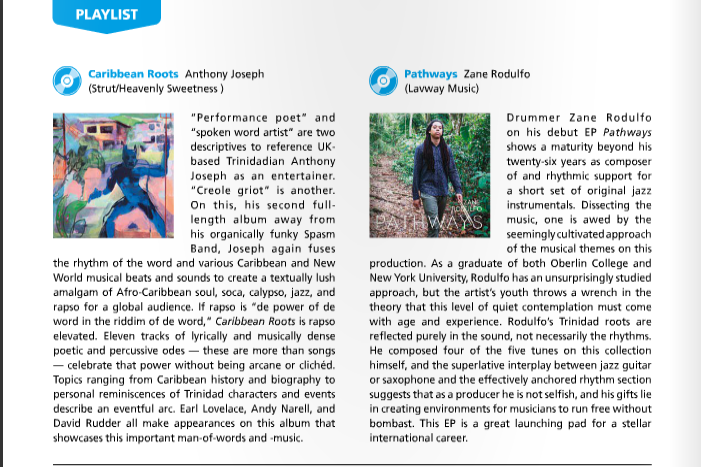 Zane Rodulfo featured in May/June issue of Caribbean Beat!