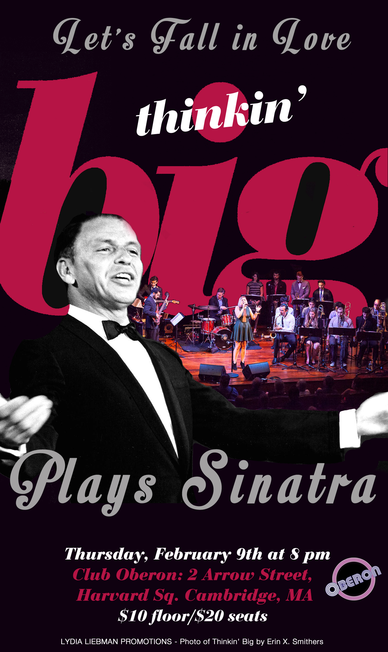"Thinkin' Big set to Return to Club Oberon with Valentine's Themed Show: ""Let's Fall in Love: Thinkin' Big Plays Sinatra"" 2/9"