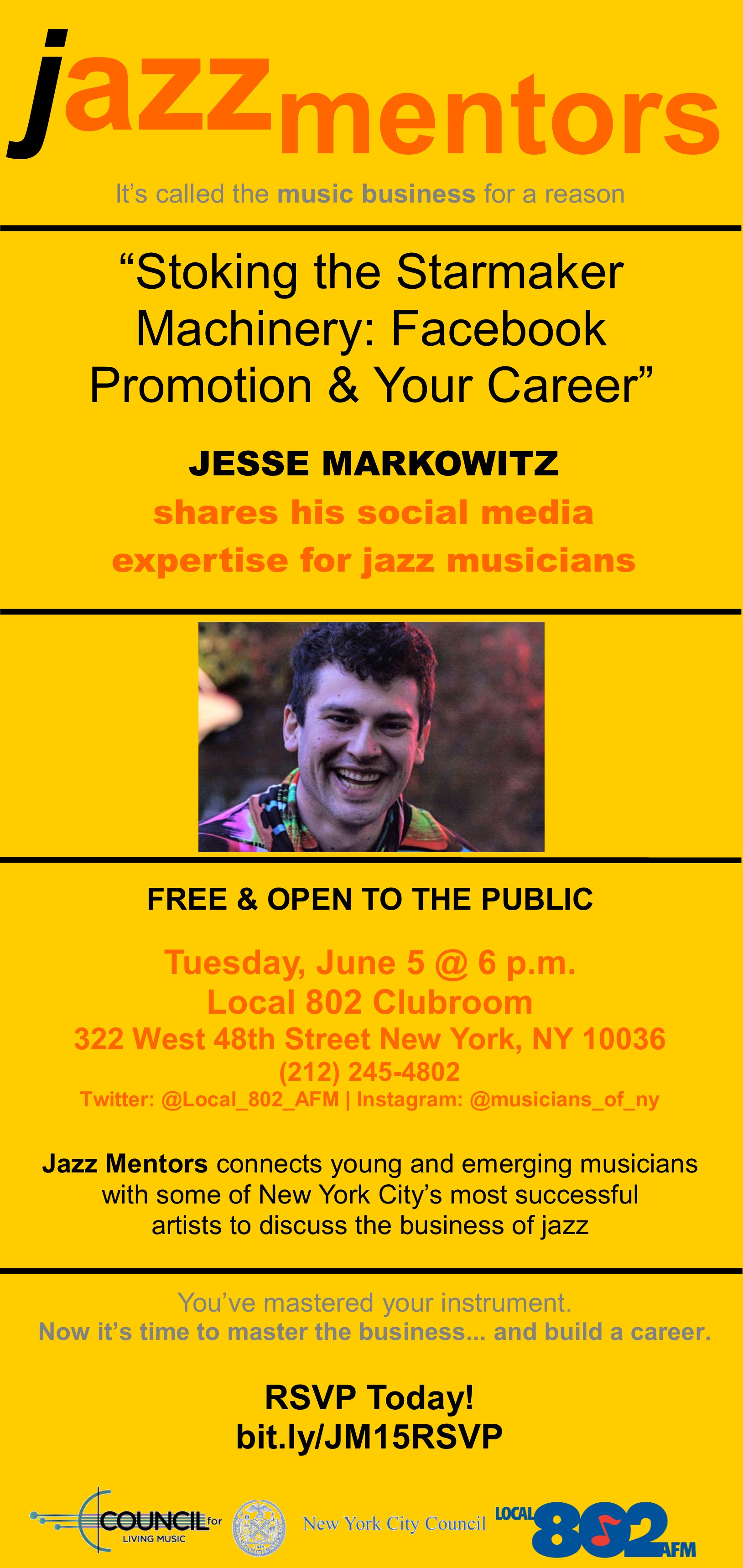 """The Council for Living Music and AFM, Local 802 Present JAZZ MENTORS 15: """"Stoking the Starmaker Machinery: Facebook Promotion & Your Career"""""""