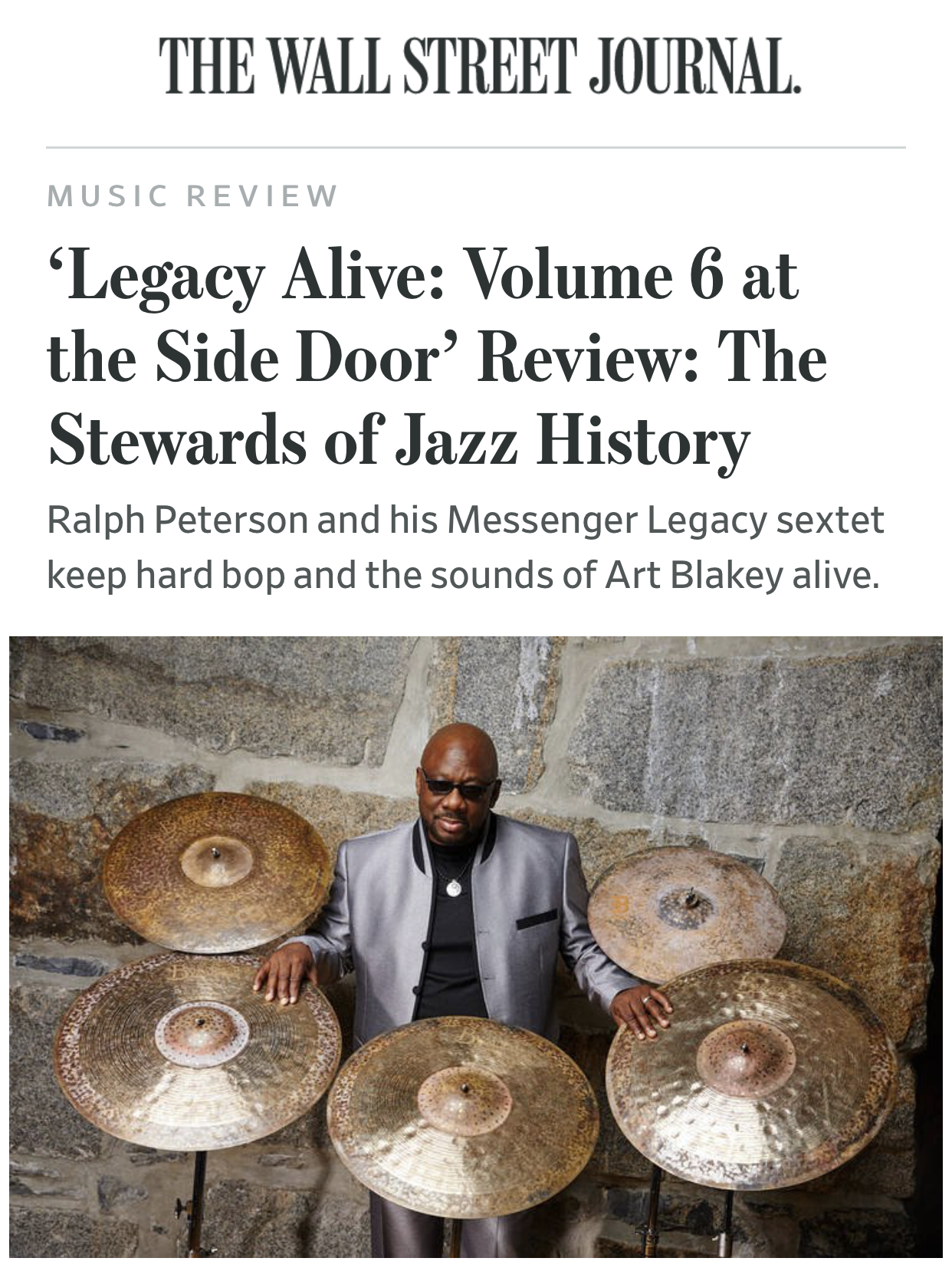 WALL STREET JOURNAL: Ralph Peterson and the Messenger Legacy Reviewed by Larry Blumenfeld