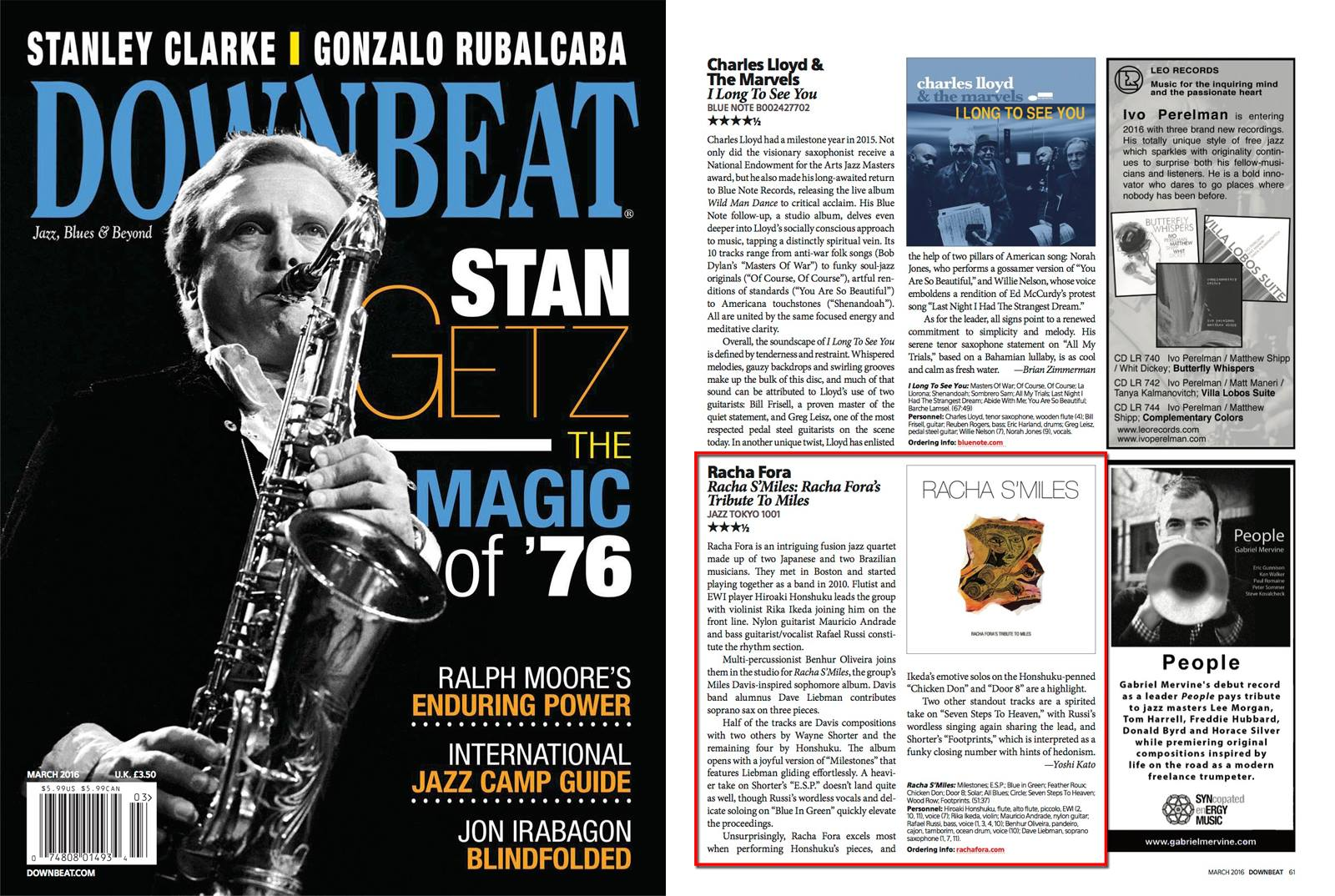 New review in Downbeat for 'Racha S'Miles'