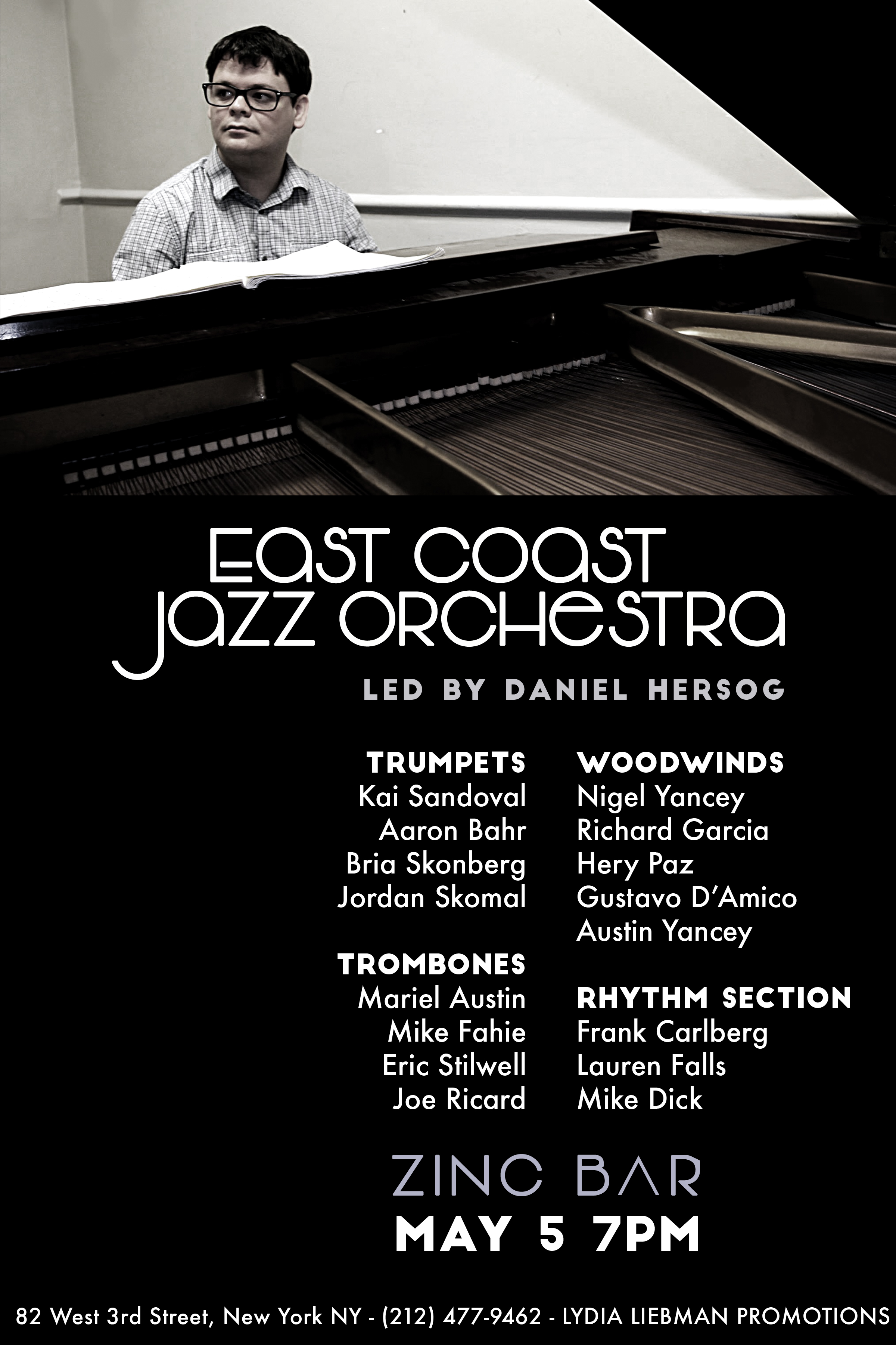 The Daniel Hersog East Coast Jazz Orchestra Comes to Zinc Bar on May 5