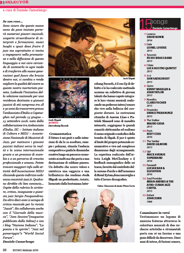 Josh Shpak's 'ASTATIC' Reviewed in Italy's Suono Magazine
