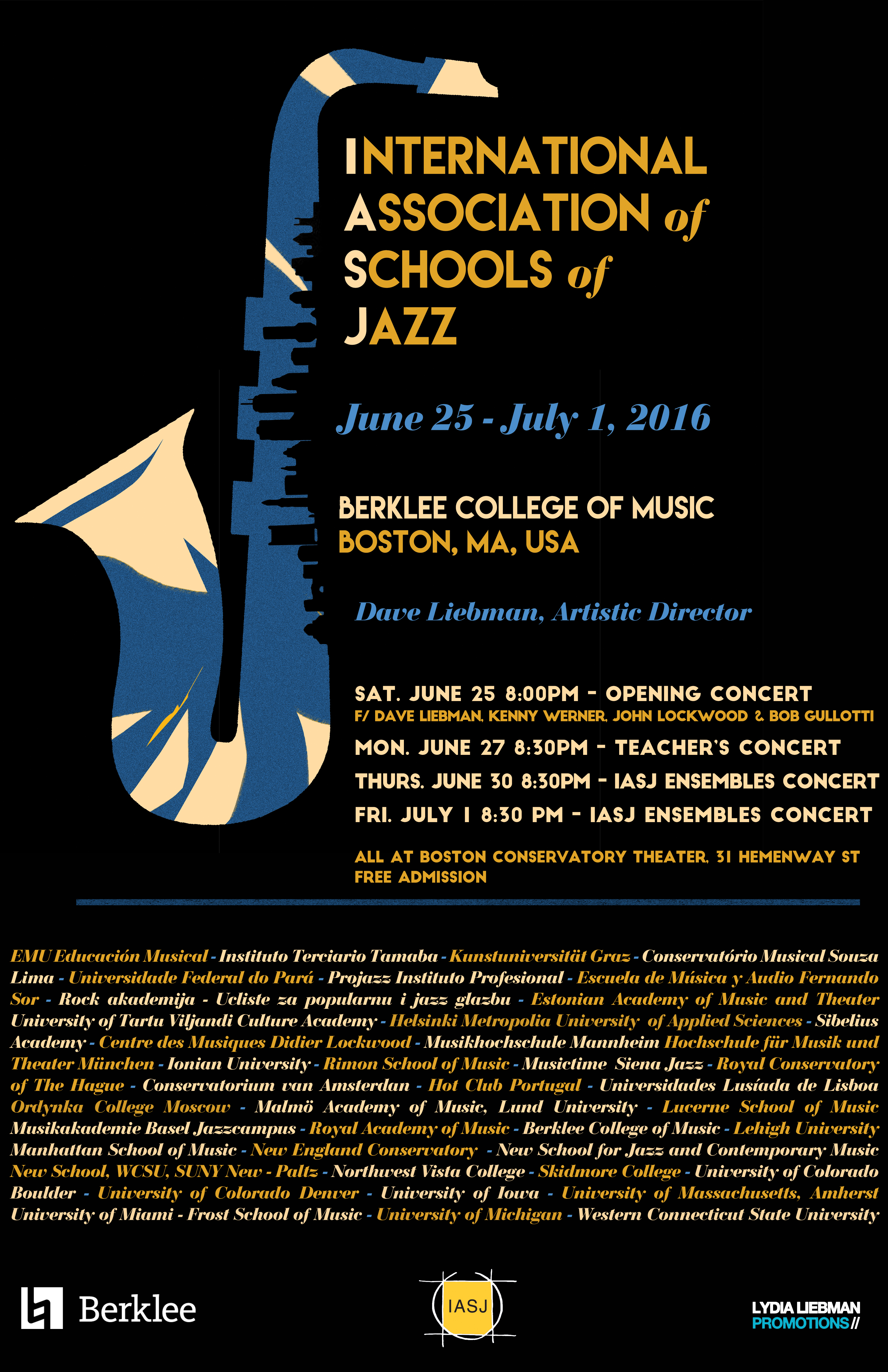 International Association of Schools of Jazz (IASJ) Presents 26th Annual Conference at Berklee College of Music, Boston MA