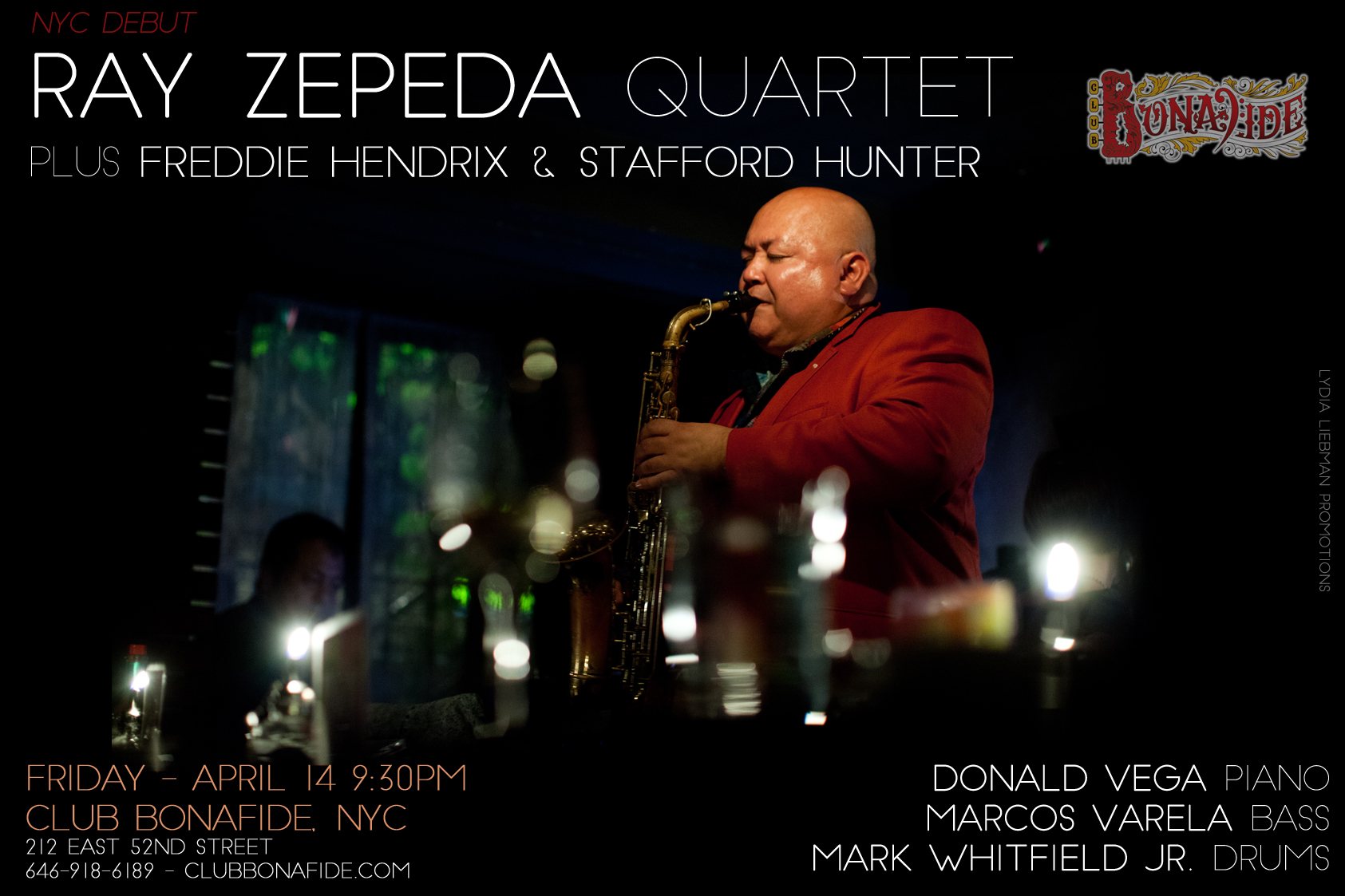 Ray Zepeda Quartet Makes Debut at Club Bonafide on April 14, 2017