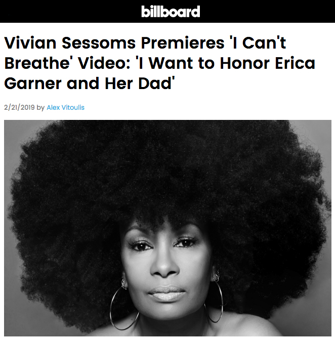 "BILLBOARD: Vivian Sessoms' New Video for ""I Can't Breathe"" Premiered on Billboard"