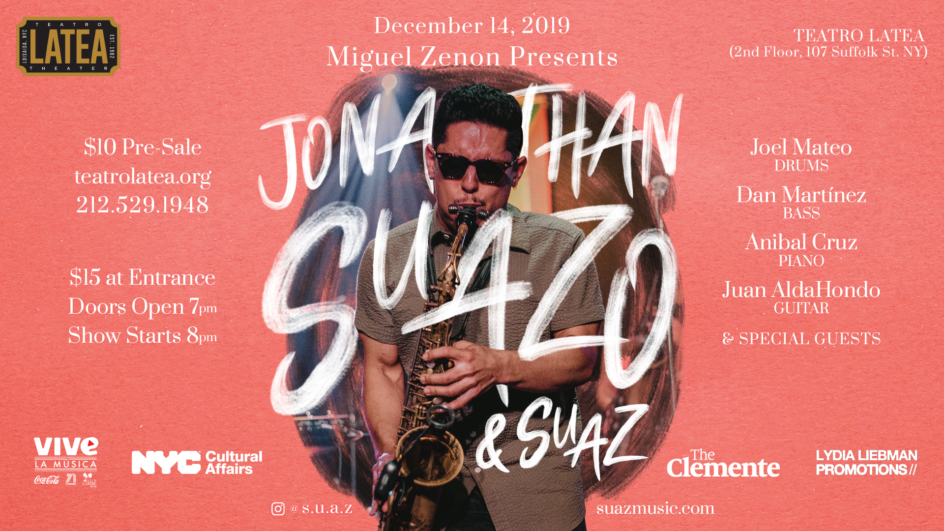 EVENT ANNOUNCEMENT: Miguel Zenón Presents Jazz at LATEA with Jonathan Suazo & Suaz 12/14/19