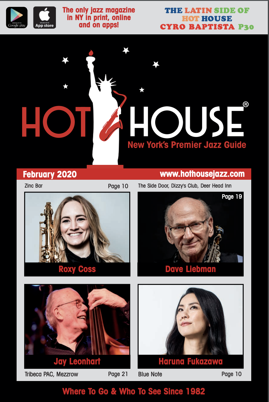 Roxy Coss, Dave Liebman, Rachel Therrien and Vince Ector in February 2020 Hot House