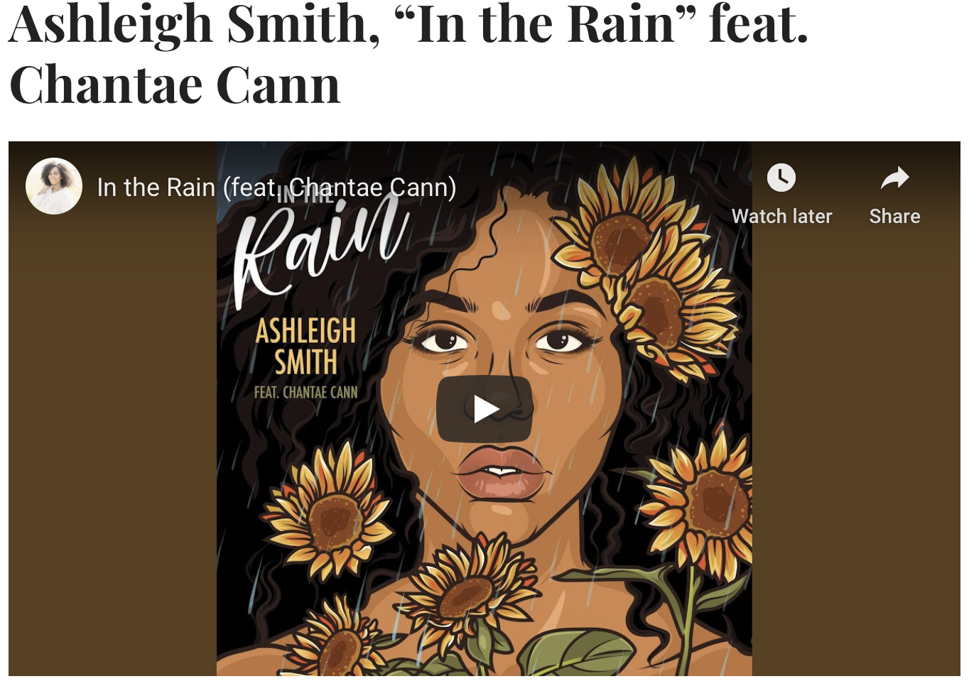 "NEW MUSIC MONDAY:  Ashleigh Smith, ""In The Rain"" Feat. Chantae Cann – JAZZIZ"