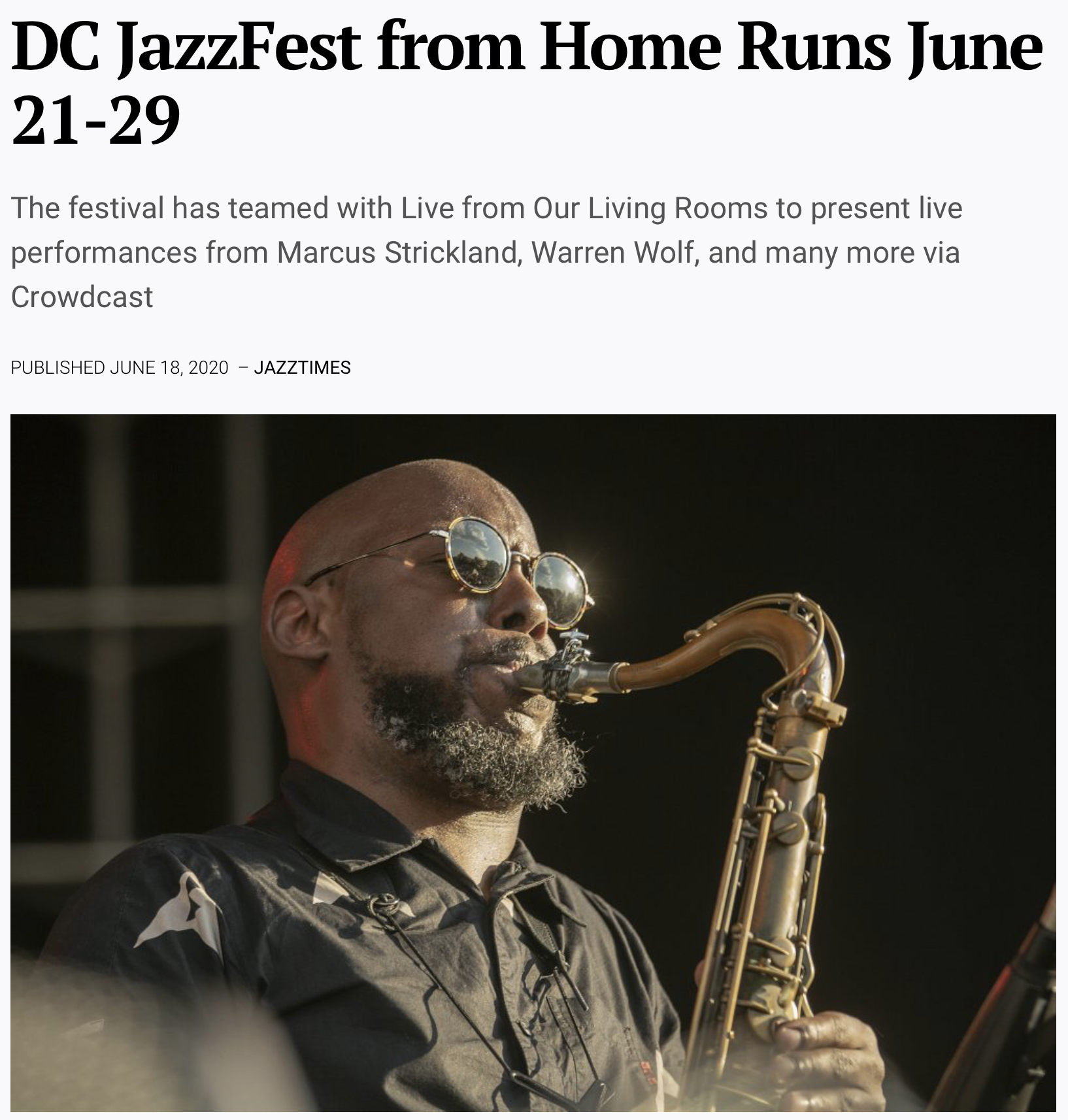 ANNOUNCEMENT: Live From Our Living Rooms & DC Jazz Fest From Home Runs June 21-29 – JazzTimes