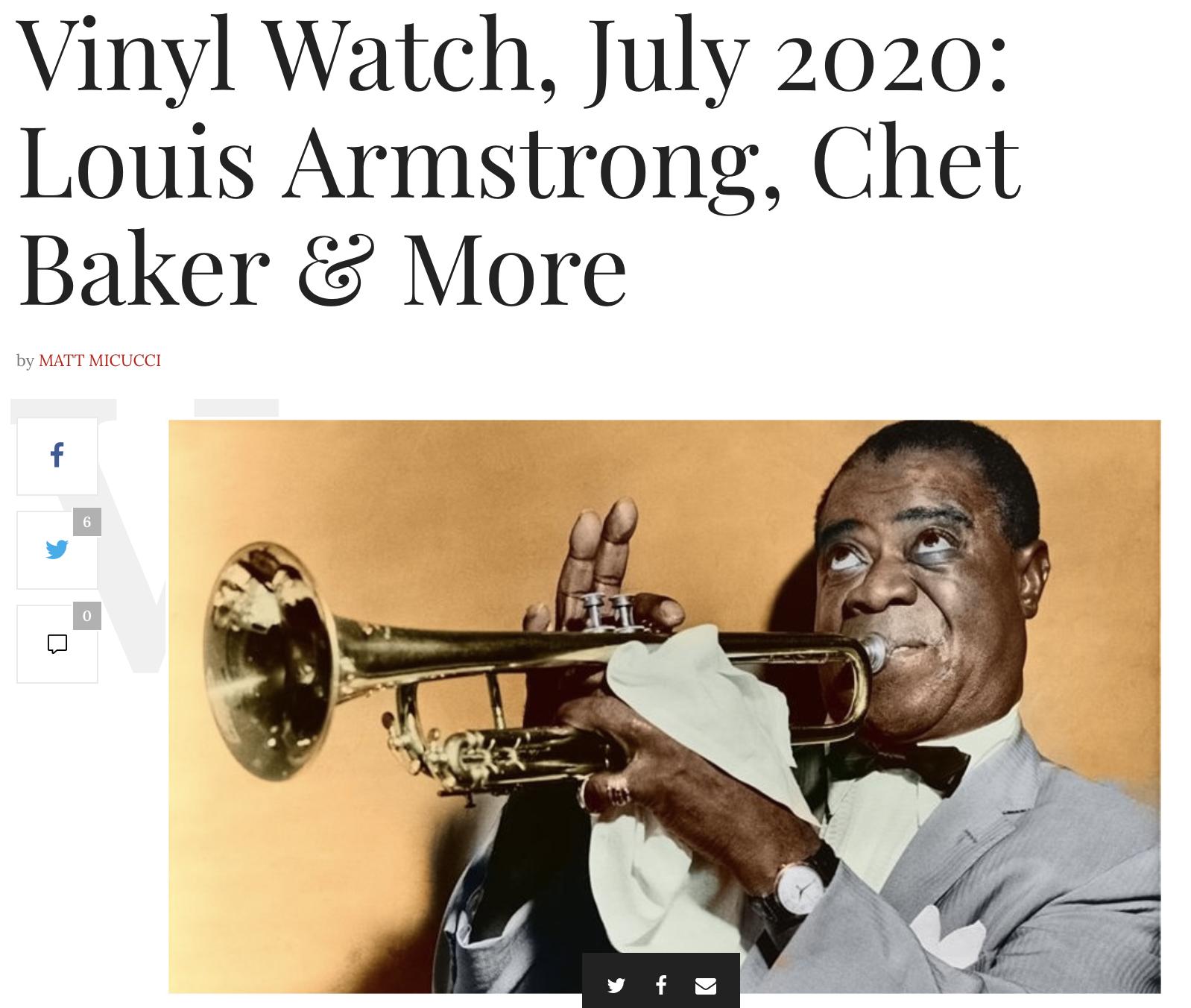 VINYL WATCH JULY 2020: Louis Armstrong , Chet Baker & Wolfgang Lackershmid – JAZZIZ