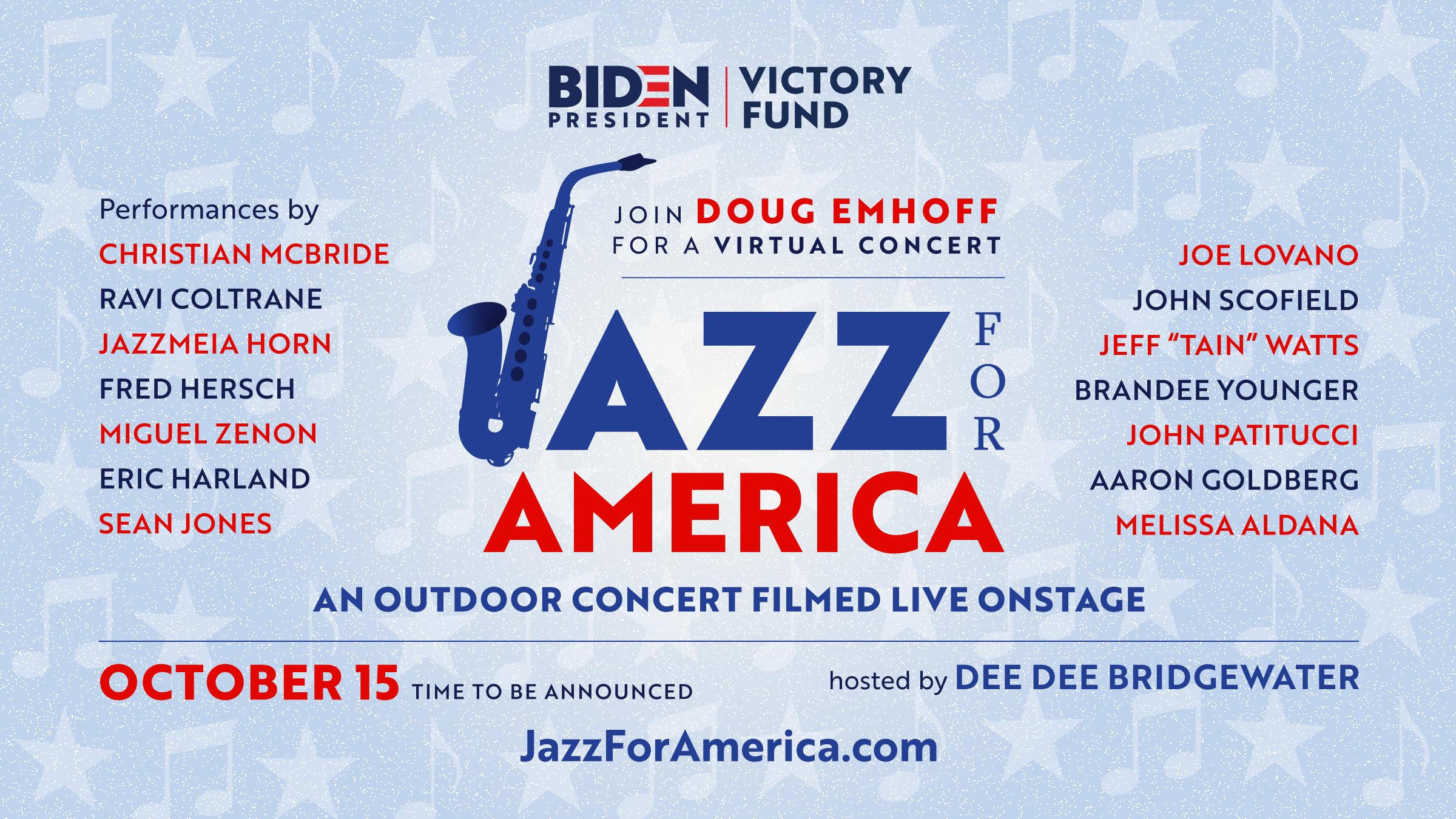 """JAZZ FOR AMERICA"" TO SUPPORT BIDEN/HARRIS 2020"