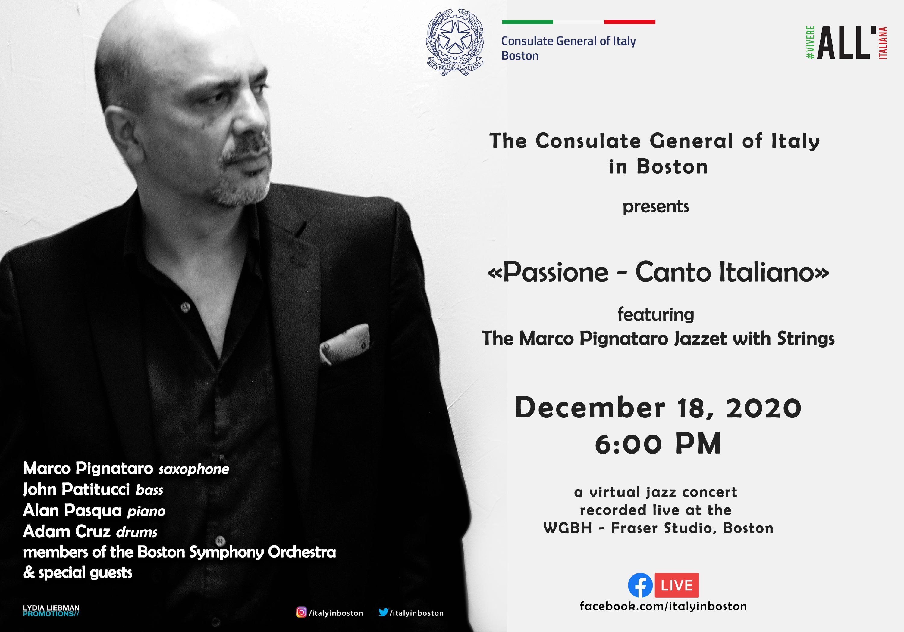 "The Consulate General of Italy in Boston Presents ""Passione – Canto Italiano"" featuring The Marco Pignataro Jazzet with Strings + Special Guests"