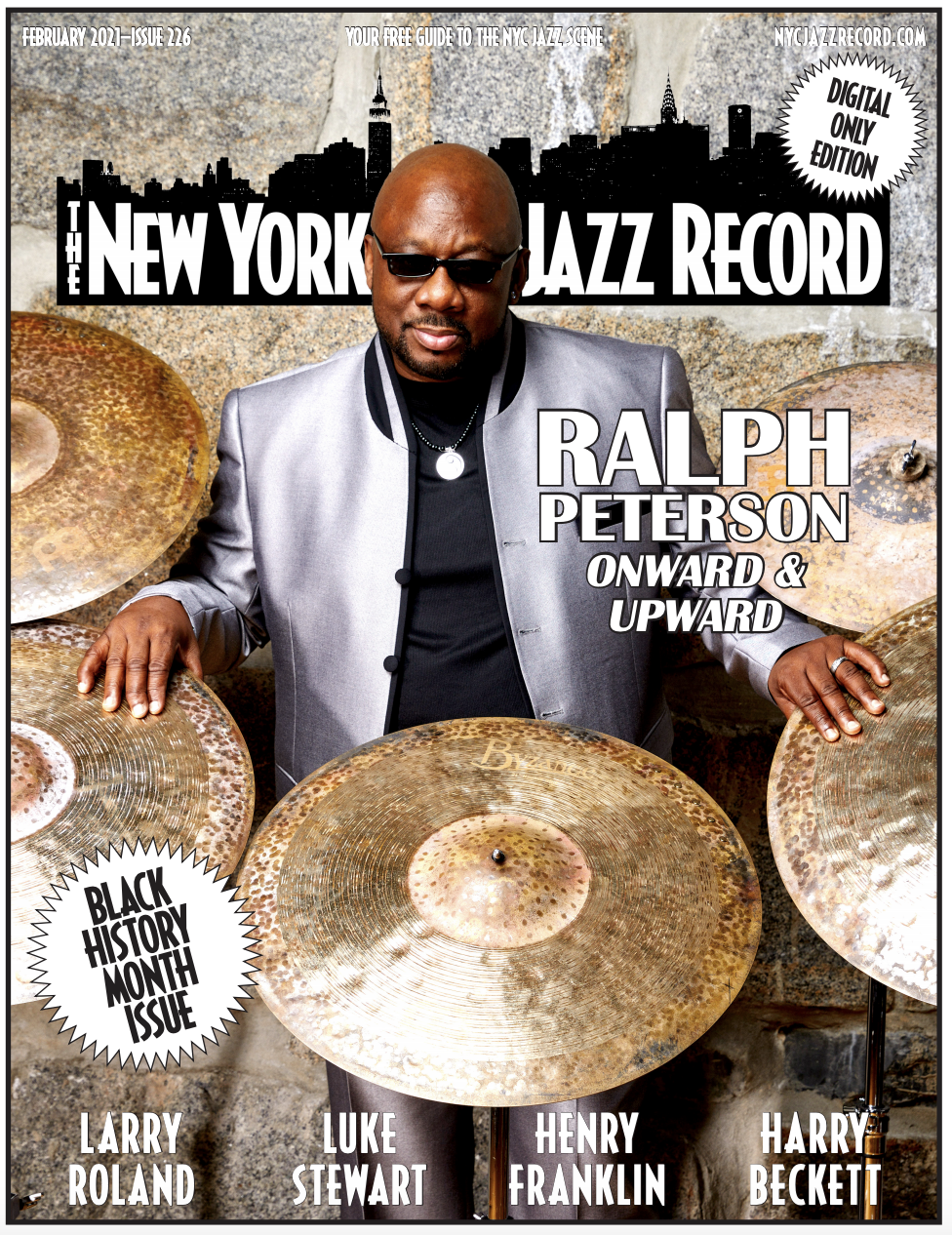 COVER: Ralph Peterson on Cover of New York City Jazz Record, February 2021