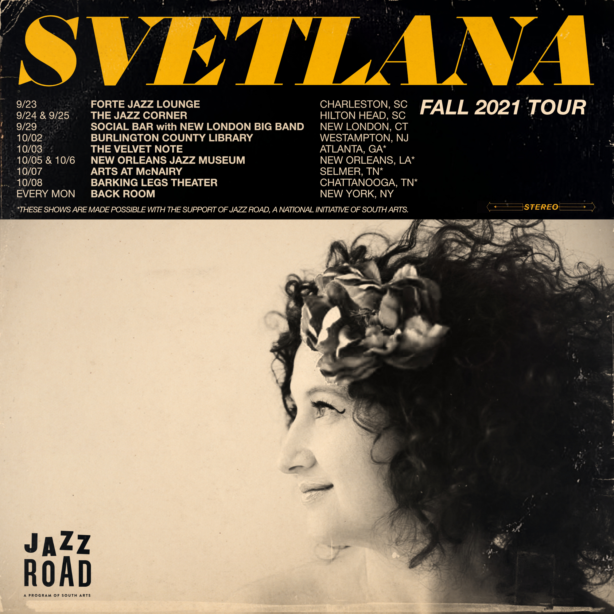 EVENT ANNOUNCEMENT: Svetlana and The New York Collective Continue Fall Southern Tour with Jazz Road Touring Grant